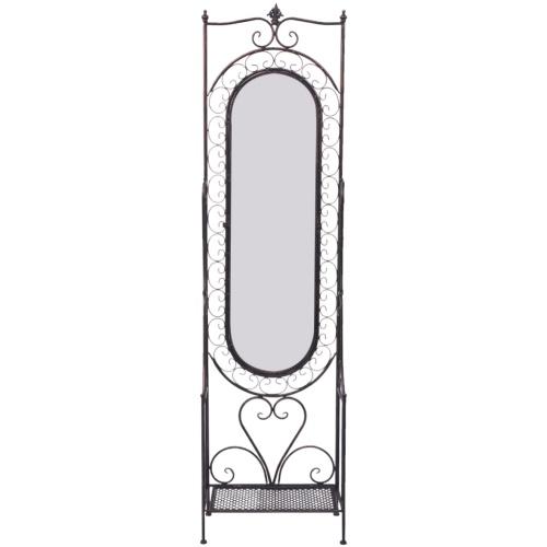 Shabby Standing ferro dello specchio nero antico