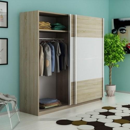 wardrobe with 2 sliding doors high-gloss white 200 cm