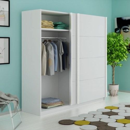 wardrobe with 2 sliding doors matte white 200 cm