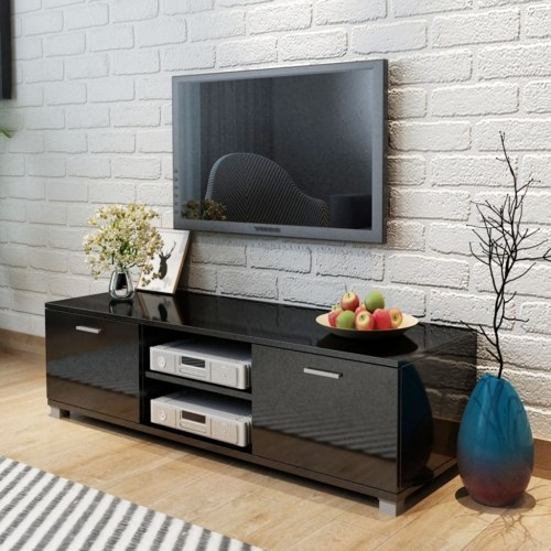 TV Cabinet High-Gloss Nero 140x40.3x34.7 cm