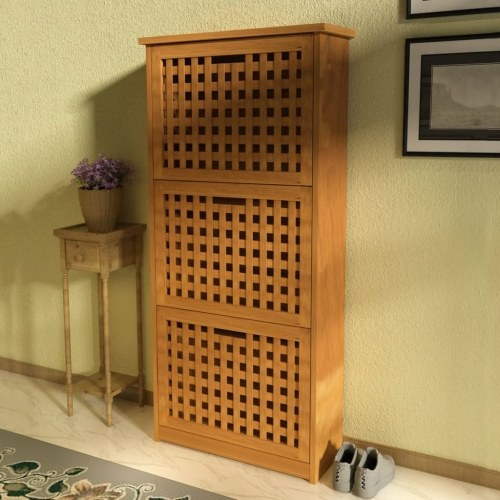 shoe storage cabinet solid walnut wood 55x20x104 cm