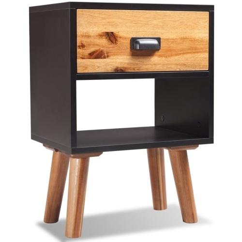 comodino solido legno di acacia 40x30x45 cm