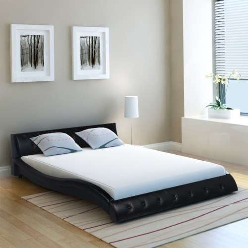 Кровать Камень Искусственная Кожа 4FT6 Двойной / 135x190 см Черный