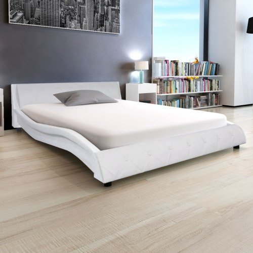 Bed Frame Artificial Leather 5FT King Size/150x200 cm White
