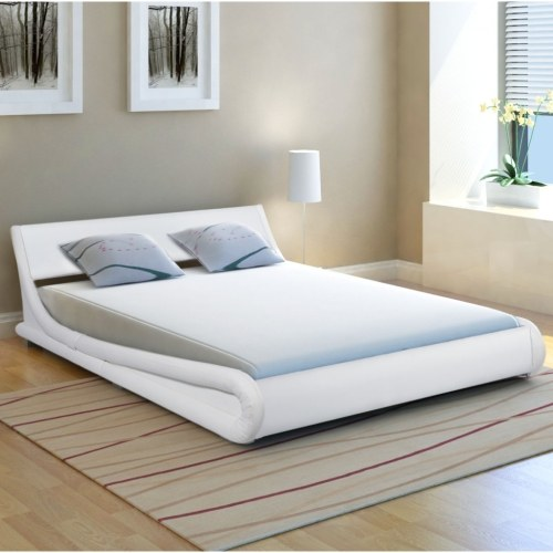 Cornice da letto 5FT King Size / 150x200cm Curling in pelle artificiale bianca
