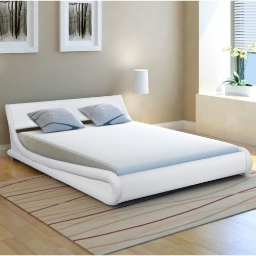 Bed Frame 4FT6 Double/135x190 cm Artificial Leather Curl White