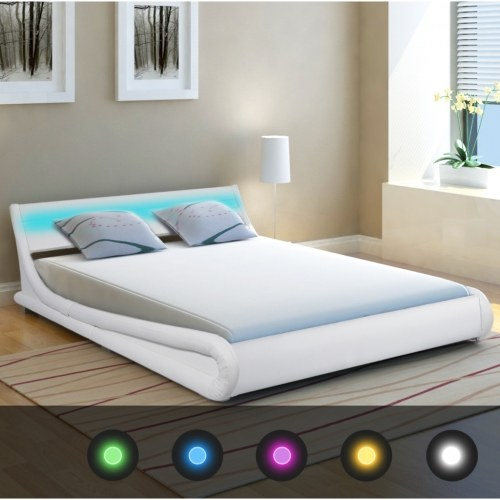 VidaXL Кровать с LED 4FT6 Двойная / 135x190 см Искусственная кожа
