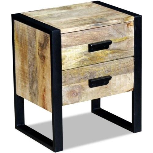 Beistelltisch mit 2 Schubladen Solid Mango Holz 43x33x51 cm