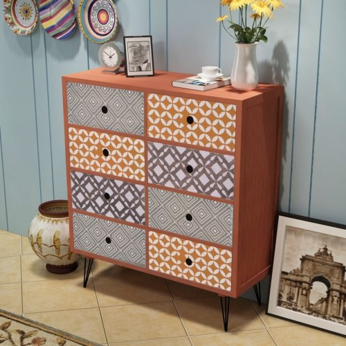sideboard 8 drawers brown