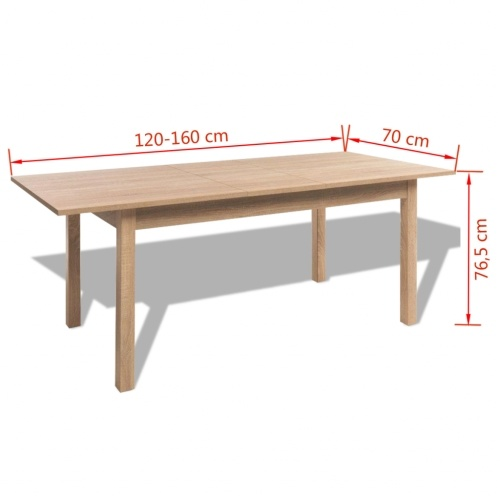 Extending Dining Table Light Brown 120/160x70x76.5 cm