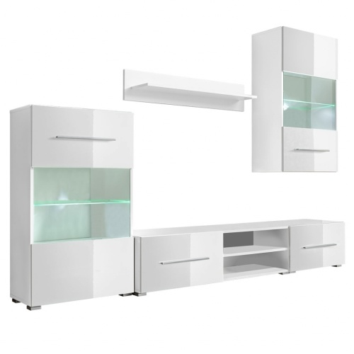 five piece wall display cabinet tv unit with led lighting white