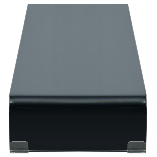 tv stand/monitor riser glass black 110x30x13 cm