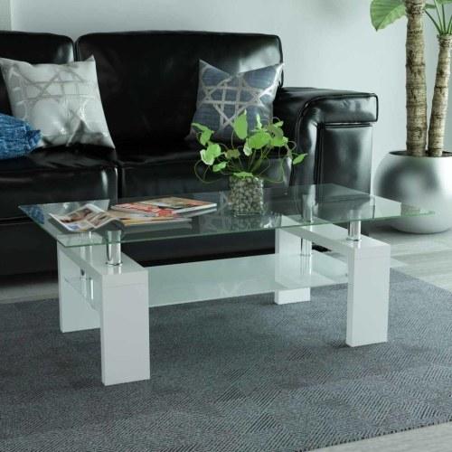 Высокоглянцевый журнальный столик с нижней полкой 110x60x40 см Белый