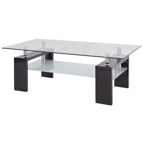 Высокоглянцевый журнальный столик с нижней полкой 110x60x40 см Черный