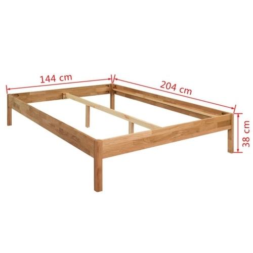 Кровать Рама Твердый Дуб 140x200 см Натуральный