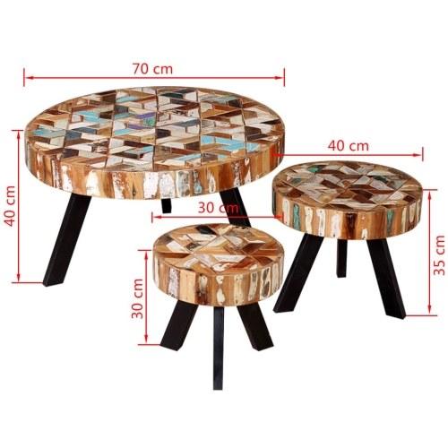 Набор из трех частей стола для журналов из твердой древесины