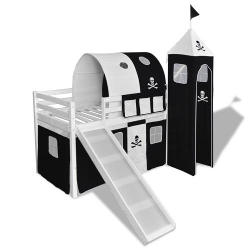 Детская лофт-кровать со слайдом и лестницей Дерево черно-белое