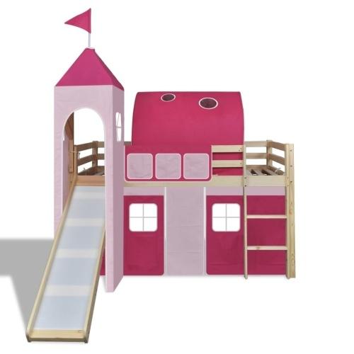 Детская лофт-кровать со слайдом и лестницей Дерево Розовый