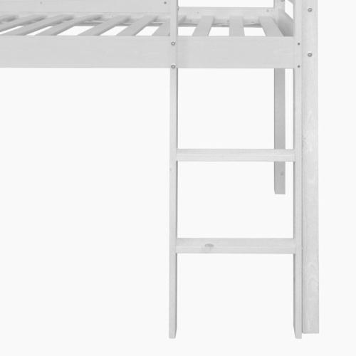 Детская лофт-кровать со слайдом и лестницей Белая древесина