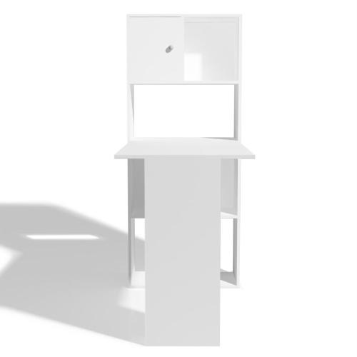 Письменный стол с книжной полкой 114x60x145 см Белый
