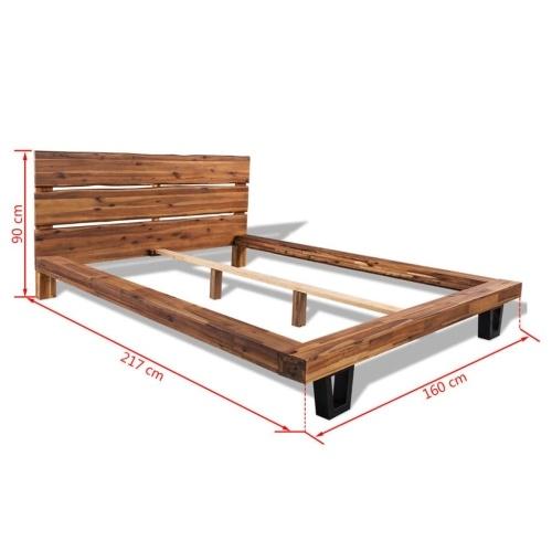 Кровать Рама Твердая Акация Дерево 140x200 см