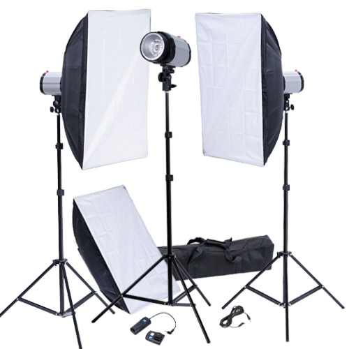 Studio Kit with Flash Heads 50x70 Softboxes Flash Trigger UK