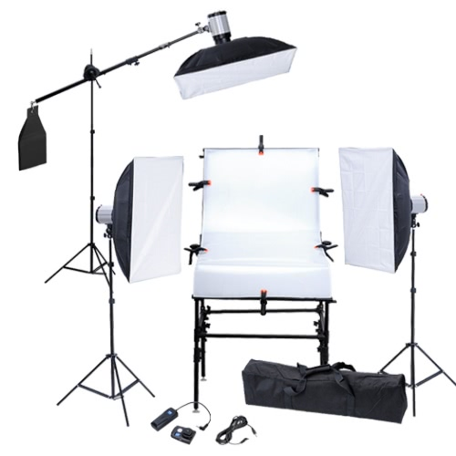 Studio Kit with Shooting Table 3 Softboxes 3 Flash Heads 3 Tripods UK