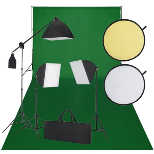 Studio Kit with Green Backdrop 3 Daylight Lamps Reflector UK