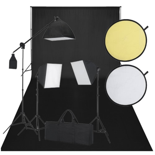 Studio Kit with Black Backdrop 3 daylight Lamps Reflector UK