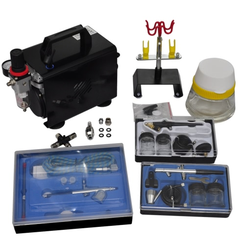 Airbrush compressor set with 3 pistols 255 x 135 x 220 mm