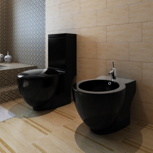 Stand Toilet & Bidet Set Black Ceramic