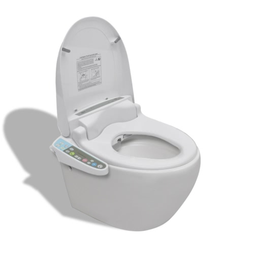 Wall Hung Toilet with Auto Electronic Toilet Seat White