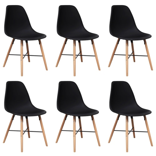 270624 Black Armless Dining Chair with Hardwood Legs 6 pcs (241018 + 241019)