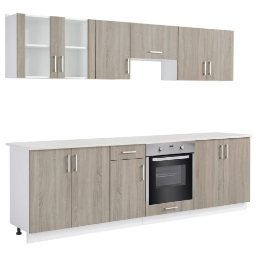 Oak Look Kitchen Cabinet Unit with Built-in Oven 8 Functions