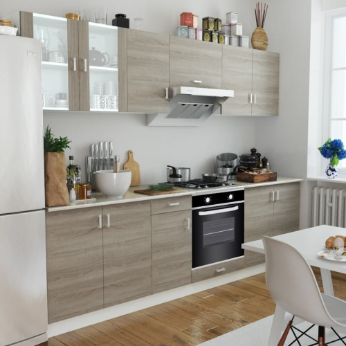Oak Look Kitchen Cabinet Unit with Built-in Oven 6 Functions