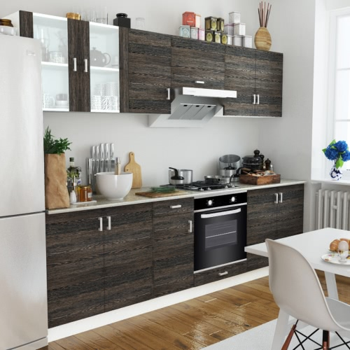 Wenge Look Kitchen Cabinet Unit with Built-in Oven 6 Functions