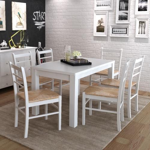6 piezas de pintura blanca Silla de comedor de madera