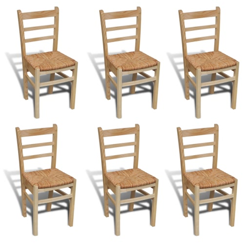 6 pcs Natural Varnish Wooden Dinning Chair