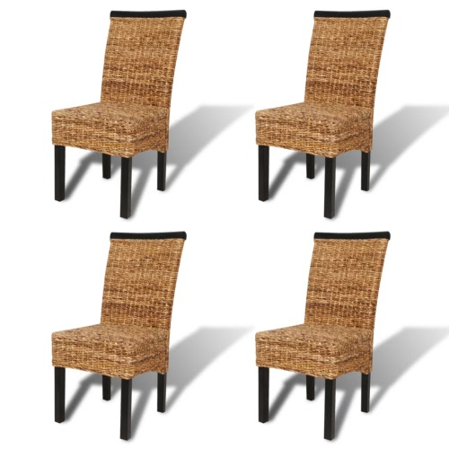 Brown Abaca Handwoven Rattan Dining Chair Set 4 pcs