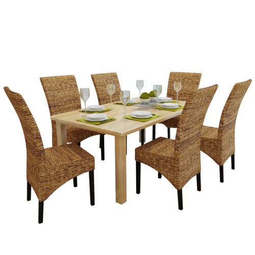 Brown Abaca ручной Ротанг обедая стул Набор 6 шт