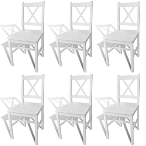 6 pcs White Wood Dinning Chair