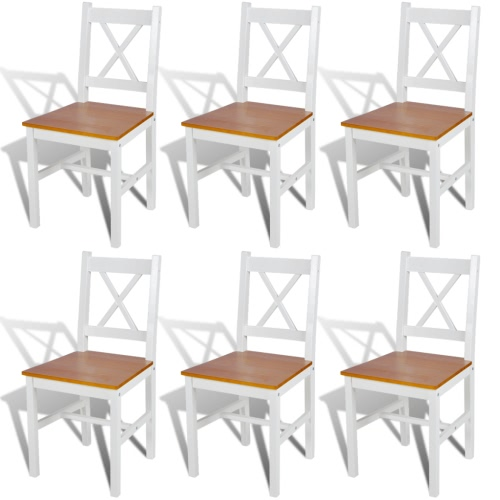 6 PC Color Blanco y Madera de la silla de comedor Natural
