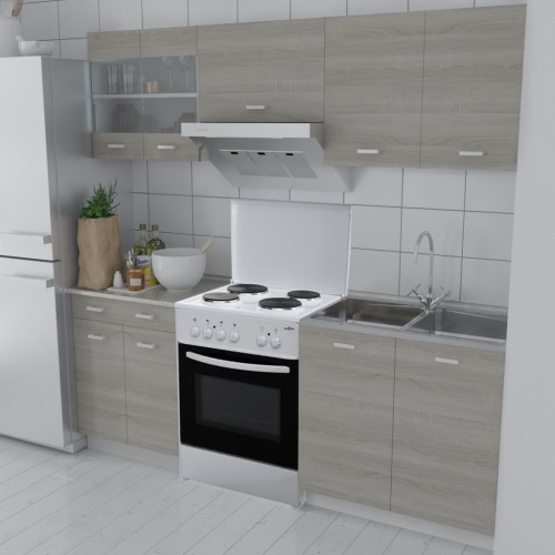Oak Look Kitchen Cabinet Unit 5 pcs with Freestanding Oven