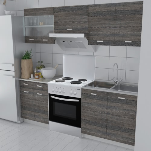 Wenge Look Kitchen Cabinet Unit 5 pcs with Freestanding Oven