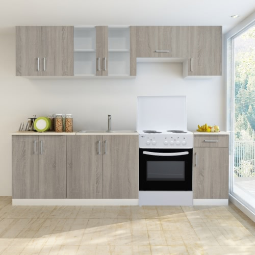 Oak Look Kitchen Cabinet Unit 7 pcs with Freestanding Oven
