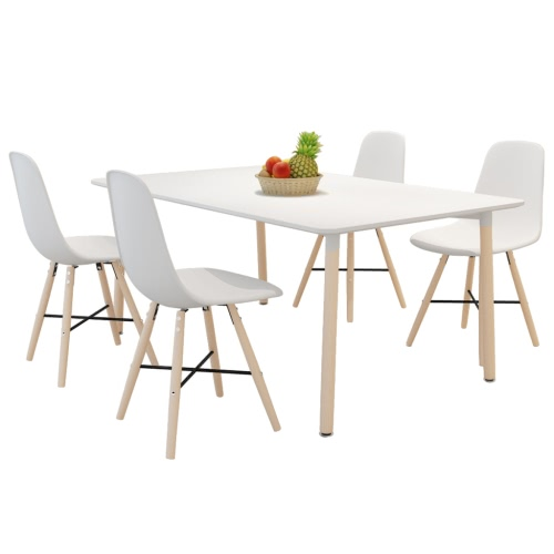 White Dining Set 1 Rectangular Table with 4 Armless Chairs