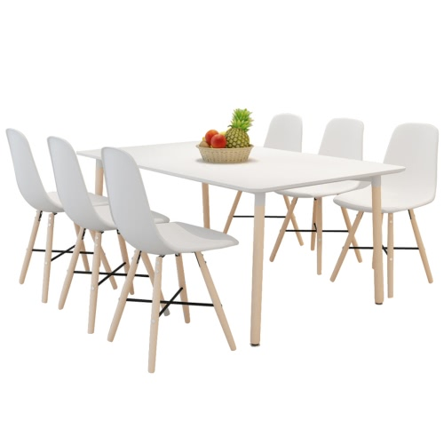 White Dining Set 1 Rectangular Table with 6 Armless Chairs
