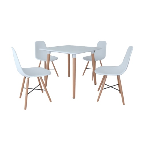 White Dining Set 1 Square Table with 4 Armless Chairs