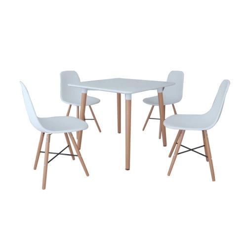 Белый Dining Set 1 квадратный стол с 4 безрукий стульев