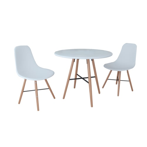 White Dining Set 1 Round Table with 2 Armless Chairs